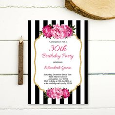 30th Invitation for woman printable floral by PaperPartyDesign