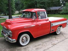 Red 1957 Chevy Cameo