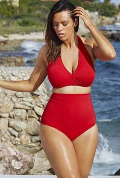 Try out the Diva White Dot Halter High Waist Bikini and more at Swimsuits for All! From stylish tankinis to classic bikinis, we've got what you're looking for. Plus Size Bikini Bottoms, Women's Plus Size Swimwear, Curvy Swimwear, Trendy Swimwear, One Piece Swimwear, Bikini Swimwear, Bandeau Bikini, Vintage Swimsuits, Swimsuits For All