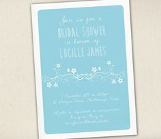 Bridal Shower Invitation  Pale Blue and White by SixDaysCreations
