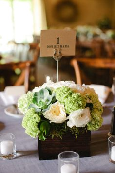 Sweet green and white centerpiece