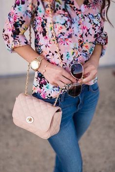 This is a fun floral top for a casual day at the office this summer.