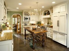 contemporary+french+country+kitchen+designs | french country kitchen with white cabinets and chandeliers this ...