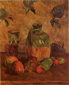 Apples, Jug, Iridescent Glass by @paul_gauguin #postimpressionism