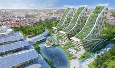 Vincent Callebaut presents an amazing green facelift to the century-old warehouses at Belgium's former industrial site Tour & Taxis in his latest designs for a mixed-use eco-neighborhood.
