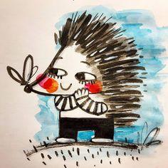 #inktober 16/31 #inktober2016 #hedgehog #drawingchallenge #drawing #brushandink #sketchbook #majaveselinovic