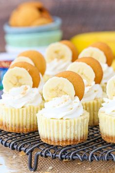 These Mini Banana Pudding Cheesecakes are made with vanilla wafer crusts, banana cheesecake filling topped with whipped cream! They're sweet little bites of banana pudding heaven! Banana Pudding Cheesecake, Easy Cheesecake Recipes, Cheesecake Bites, Dessert Recipes, Banana Pudding Cupcakes, Cheesecake Squares, Cheesecake Cake, Chef Recipes, Raspberry Cheesecake