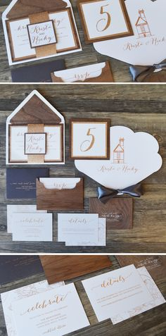 The Krista wedding invitation from @engagingpapers is rustic, romantic and glamorous! A three layer invitations with real walnut wood, middle layer of glitter paper, and matte white cardstock printed with rose gold metallic ink! #weddinginvitation #rusticwedding #rosegold #woodinvite