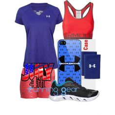 Under Armour 4th of July Running Gear by hburson on Polyvore featuring Under Armour  #4thOfJulyRunningGear #TeamSparkle