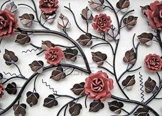 muur decoratie van metalen bloemen Stockfoto - 6099858