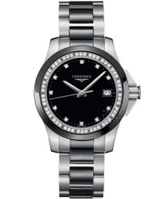 The round watch features a black dial set with diamonds as markers and the  black bezel is inlaid with diamonds. d5fd50c9606