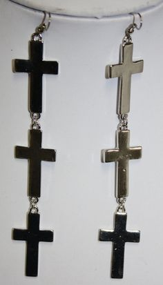 Four Cross Silver Dangle Earring  $11.95  http://www.giddyupglamouronline.com/catalog.php?item=6781