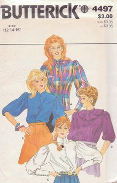 Butterick 4497 Size 12-14-16 puff sleeve blouse with standup collar in 2 heights, elastic bottom or long cuffs sleeve.