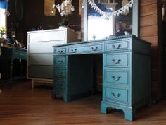 Executive style desk in rustic petrol, teal turquoise. Modern Vintage