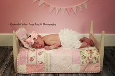 pink shabby chic quilt and bed photo prop