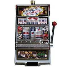 Slot machine bank features real working handle, spinning reels, flashing light, and jackpot bell sound! With separate jackpot & savings bank slots and manual coin release.