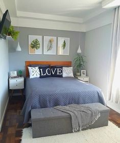 Small Bedroom Ideas That Looks Stylishly and Space Saving Small Room Bedroom, Bedroom Colors, Home Decor Bedroom, Living Room Decor, Tiny Master Bedroom, Bedroom Signs, Bedroom Black, Small Rooms, Bed Room