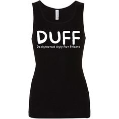 Duff Vinyl Print 100 Cotton Ladies Tank Top (25 CAD) ❤ liked on Polyvore featuring tops, tank tops, black, tanks, women's clothing, black top, cotton tank tops, graphic tops, fish tank and singlet