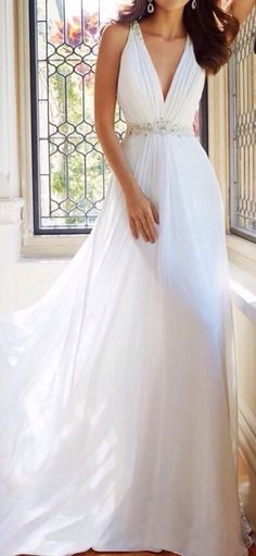 White Chiffon V-neck Wedding dress A-line Bridal Gown Ivory Bridal Gown