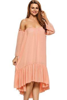 45d70352ca34 Pink Sweetheart Off Shoulder Long Sleeve Swing Dress