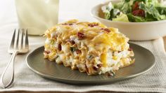 Looking for an new casserole recipe? This cheesy one is filled with potato, bacon and all things delicious.