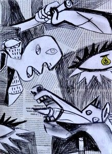 Collage ispirato a Guernica Pablo Picasso, Picasso Collage, Picasso Guernica, Picasso Art, Primary School Art, Middle School Art, Elementary Art, Painting Collage, Collage Art