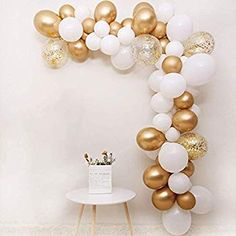 BALONAR DIY Garland Balloon Assorted Latex Balloon Gold Metallic Chrome Balloon in Gold and White Latex Balloon with Gold Pre-filled Confetti Balloon for Any Party Wedding Anniversary Bir Gold Balloons, Confetti Balloons, Latex Balloons, Birthday Party Celebration, 18th Birthday Party, Anniversary Surprise, 50th Wedding Anniversary, Birthday Balloon Decorations, Birthday Balloons