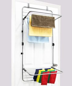 Shop at DormCo for our Folding Steel Drying Rack - Over The Door. This dorm essential will allow you to dry your clothes easier in college and has a folding top and bottom rack so you can dry larger items and each rack folds in compact against the door. Do It Yourself Organization, Organizing Your Home, Organising, Small Laundry Rooms, Laundry Room Storage, Shelving Solutions, Clothes Drying Racks, Laundry Drying, Dorm Essentials
