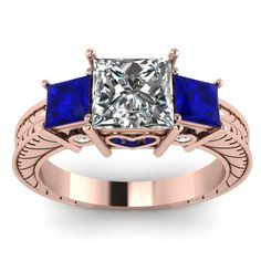 1.5 Carat  Antique Engraved  Princess Cut Three Diamond Engagement Ring with Blue Sapphire in 18K Rose Gold exclusively styled by Fascinating Diamonds