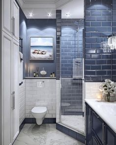 Small & Relaxing Bathroom Remodel Inspiration For Those Who Maintaining Their Bathroom - The Living Blue Bathroom Renos, Laundry In Bathroom, Bathroom Renovations, Bathroom Design Luxury, Modern Bathroom Design, Bad Inspiration, Bathroom Inspiration, Minimalist Small Bathrooms, Relaxing Bathroom