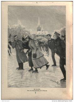 """Auf dem Eis - , Druck, entnommen  aus """"die Gartenlaube"""", 1897"""