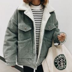 Gray corduroy jacket with cozy shearling lining.