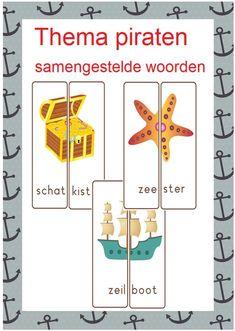 Thema piraten prachtig pakket met 10 verschillende leesspelletjes voor groep 3/4 Pirate Preschool, Busy Boxes, School Themes, Dutch Words, Spelling, Teaching, Education, Circuit, Projects