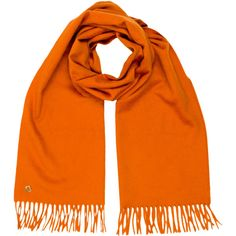 Pre-owned Loro Piana Scarf ($295) ❤ liked on Polyvore featuring accessories, scarves, orange, fringed shawls, loro piana scarves, fringe scarves, loro piana and orange scarves