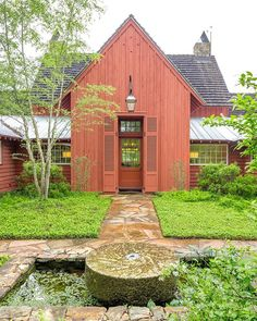 mcalpinehouseOne of the few clients who was brave enough to let us go full red. A gentlemen's weekend farmhouse. Architecture Details, Farmhouse Architecture, House In The Woods, Backyard Patio, Built Ins, Interior Styling, Interior And Exterior, House Styles, Instagram