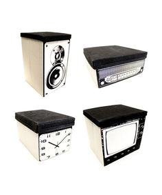 Looking for storage solutions? We've got them! These canvas storage bins (with lids included) provide the space you need and you won't have to hide them away. Use them individually for a pop of decor in every room, or display them all together to create a classic-looking faux home entertainment center. Set includes 1 television, 2 speakers, 1 clock, and 1 radio bin.