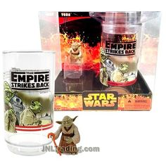 Star Wars Year 2005 Empire Strikes Back Series 2 Inch Tall Figure Set : YODA with Gimer Stick Plus Collectible Cup