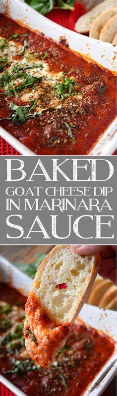 Baked Goat Cheese Dip in Marinara Sauce