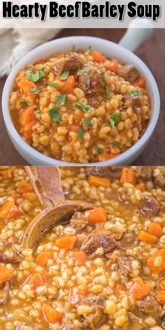 This Hearty Beef Barley Soup is a restaurant-worthy, absolutely delicious, easy-. This Hearty Beef Barley Soup is a restaurant-worthy, absolutely delicious, easy-to-make and filling meal. Made with Crock Pot Recipes, Cooker Recipes, Barley Recipes, Beef Soup Recipes, Stewing Beef Recipes, Fall Soup Recipes, Winter Dinner Recipes, Beef Barley Soup, Mushroom Barley Soup