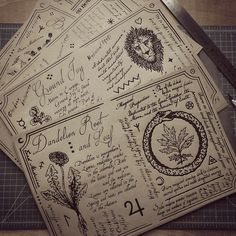 """poisonappleprintshop: """"Loose leaf pages for the Hedge Witch's Herbal Grimoire, written by and illustrated/designed by me! These pages will now get folded and hand sewn together. Wicca Witchcraft, Wiccan, Magick, Grimoire Book, Hedge Witch, Witch Aesthetic, Practical Magic, Magic Book, Book Of Shadows"""