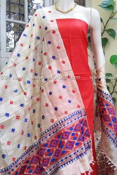 Designer Silk Hand Embroidered Phulkari Work Dupatta & kurta fabric
