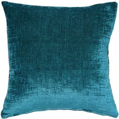 Venetian Velvet Peacock Teal Throw Pillow 18x18