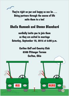 His and Hers Golf Carts Wedding Invitations