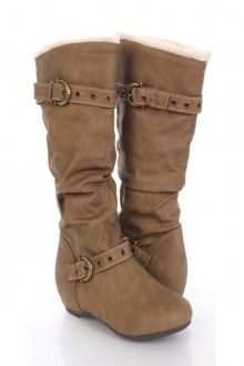 Camel Faux Leather Grommet Strapped Mid Calf Boots - CUTE!