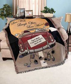 """Give a Personalized Wedding Throw to your favorite couple, or get one as a special accent for your home. The decorative tapestry throw looks great draped over a sofa or bed and adds cozy warmth for relaxing or watching TV. It bears the sentiment """"Live We"""