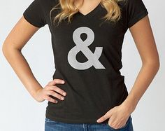 Helvetica Ampersand TShirt - Hipster TShirt -  Mens and Ladies Sizes Small-3X - (Please see SIZING CHART in Item Details)