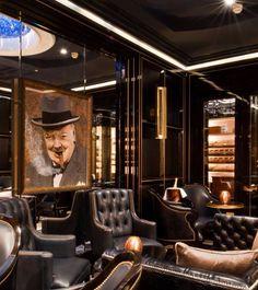 Masculine smokers' lounge @ the Wellesley hotel, London Lounge Design, Bar Lounge, Cigar Lounge Ideas, Cigar Lounge Decor, Cigar Lounge Man Cave, Bar Design, Cigar Humidor, Cigar Bar, Wellesley Hotel