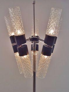 #Stilnovo floor lamp in chrome, black enamel & glass, with 10 lights, 1960`s ca, Italian @ www.roomscape.net