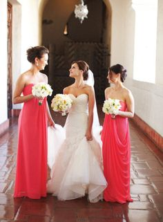 I love the bride's dress!   And the design of the bridesmaid's dresses is lovely but I'd tone down the colour to something more neutral.