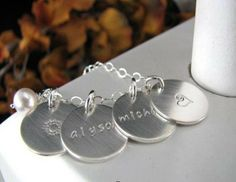 """4 Stainless Steel Charms Disc 5/8"""" Layer Hand Stamped INITIAL Letters Love Mommy Mom Grandmother Family Circle Kids Names Necklace Crystals"""